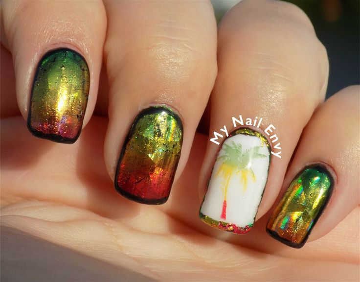 Rasta Nails – My Nail Envy  #rastanails #gradientnails #ombrenails #metallicnails #transferfoils #greenyellowandrednails #palmtreenails #gelnails #soakoffgel #jamaicannails #bobmarleynails #reggaenails #islandvibes #tropicalnails #multicolorednails #nailstamping