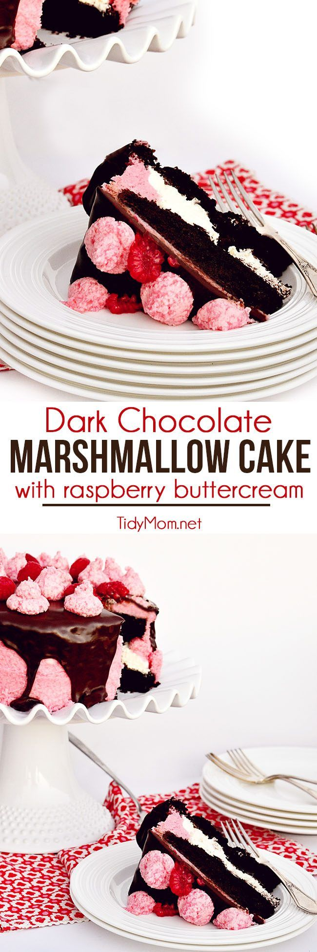 Dark Chocolate Covered Marshmallow Cake with Raspberry Buttercream is a delicious combination for a baby shower, birthday party, and perfect for Valentine's Day. Get the full printable recipe at TidyMom.net