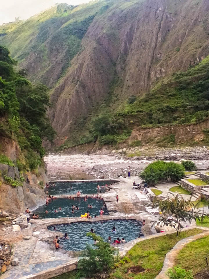 Hot springs nestled in the Andes near Santa Teresa, Peru --Check. The water is so nice and warm. I loved it. You can go in them during the Salkantay trek to Machu Picchu.