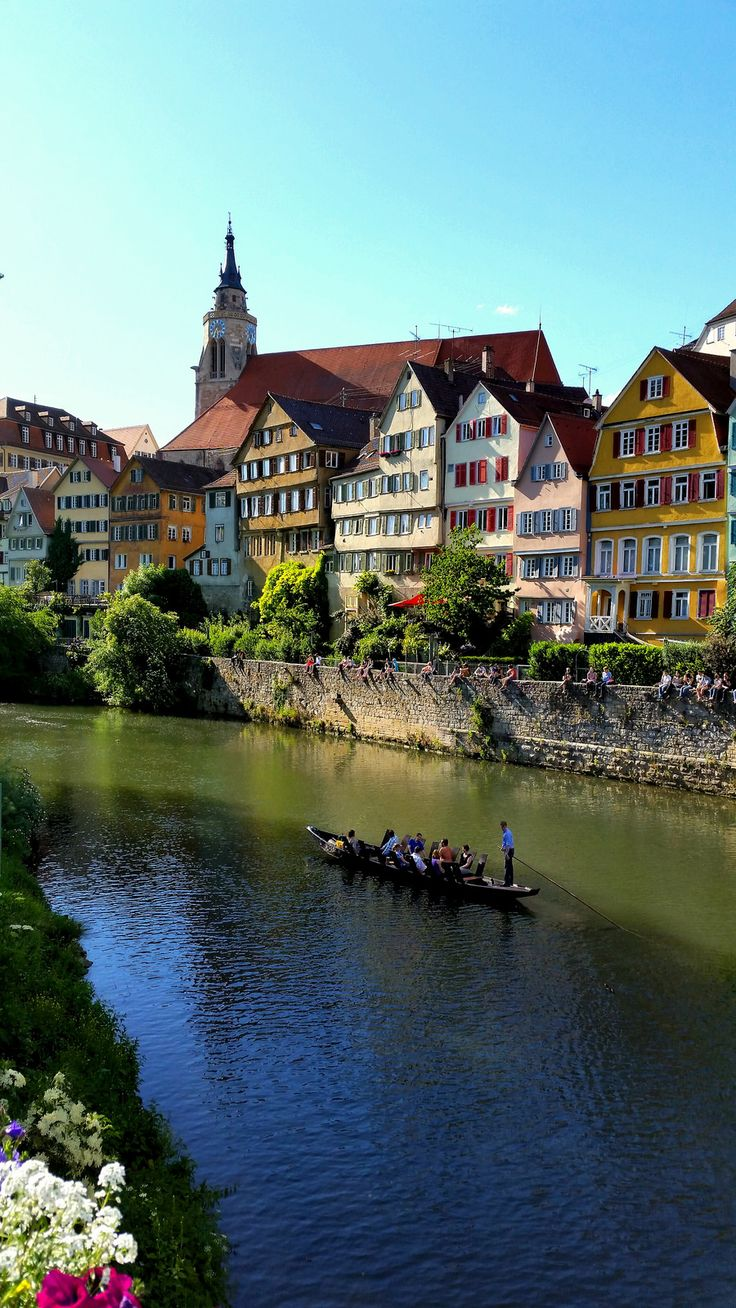 TÜBINGEN (south Germany, Baden Württemberg) - about 45 miles from my home). Tübingen is a scenic University City with old tradition and culture history. A lot of famous artists, especially poets and writers. https://en.wikipedia.org/wiki/T%C3%BCbingen  TÜBINGEN is surrounded by vineyards and one of the nicest cities in my area.