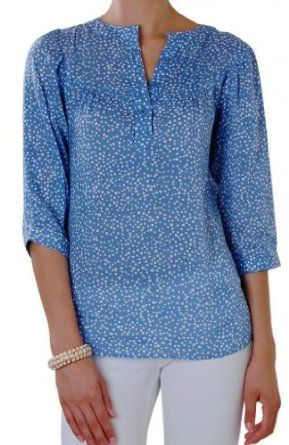 Humble Chic NY Women's Ocean Blue Blouse - Long Sleeve Printed Tunic