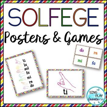 Kodaly Solfege sign Room Decor with fun learning Games in bright primary colors to spark learning! USE THIS RESOURCE Play these fun games to help students learn their Kodaly Hand Signs. One easy game-one more difficult. Use as a whole class game.