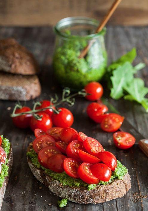 fresh pesto with cherry tomatoes