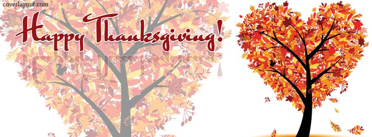 Happy Thanksgiving Pictures for Facebook | Happy Thanksgiving Heart Leaf Tree Facebook Cover Layout