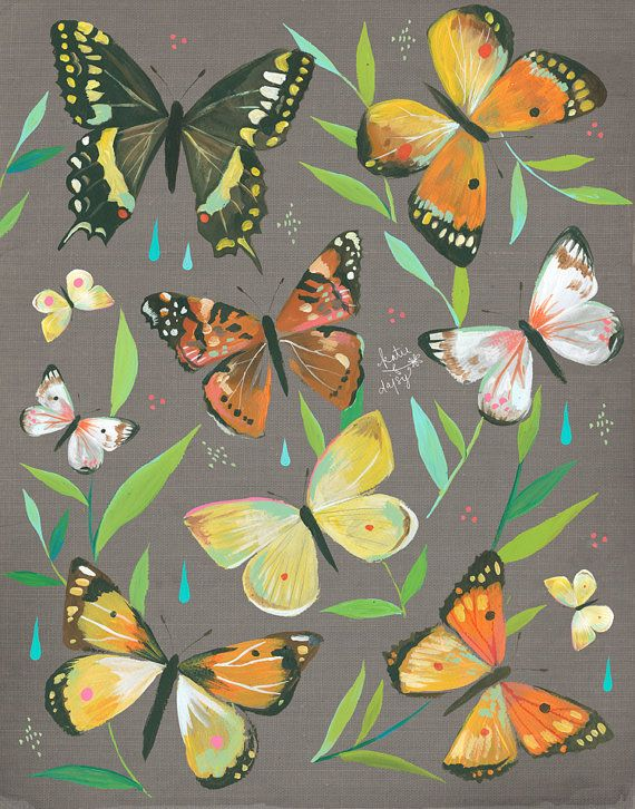 Butterfly Garden Art Print Nature Decor By Thewheatfield On Etsy