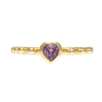 Pretty pink heart cut sapphire set into 2mm fine hammered band with tiny bobbles on either side in 18ct yellow gold by Sophie Harley London.