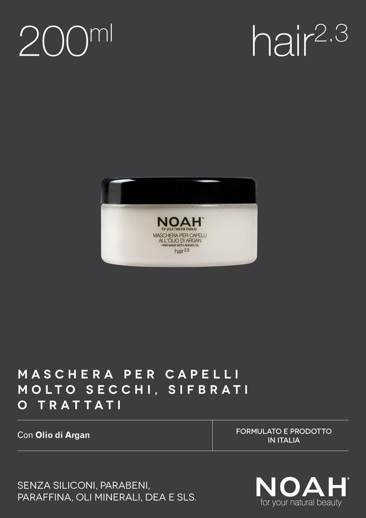 NOAH Maschera per #capelli molto secchi, sfibrati o trattati. Senza siliconi, parabeni, paraffina, oli minerali, DEA e SLS. €.8.95