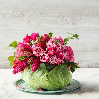 How To Make a Mother's Day DIY Cabbage Centerpiece--Adorn your dining room table this Mother's Day with our naturally beautiful centerpiece.