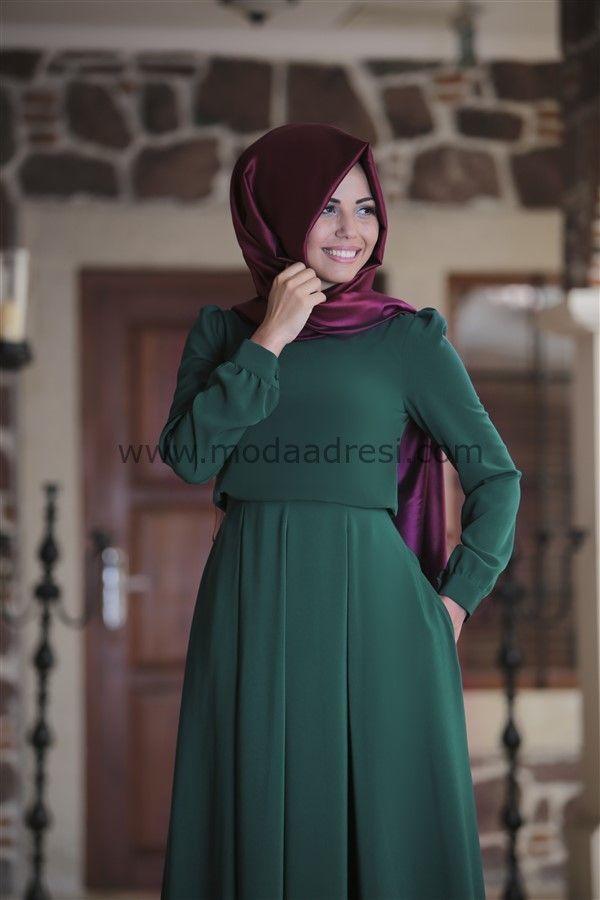 Annahar Gülce Elbise-Zümrüt
