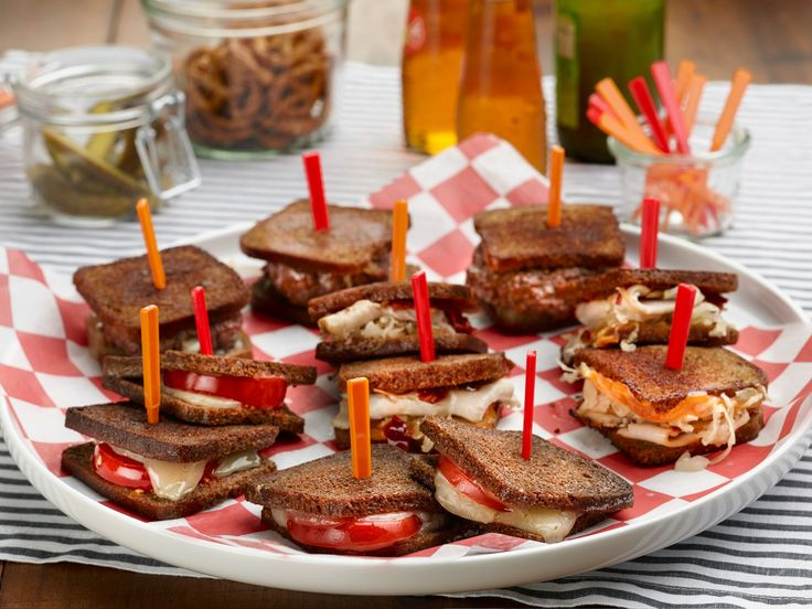 Mini Sandwich Buffet: Mini Grilled Cheese and Tomato, Mini Rachael's and Mini Spicy Patty Melts recipe from Rachael Ray via Food Network
