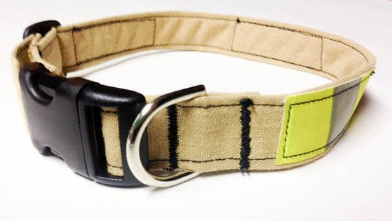 Firefighter Dog Collar  Tan Turnouts by rekindledpride on Etsy, $25.00