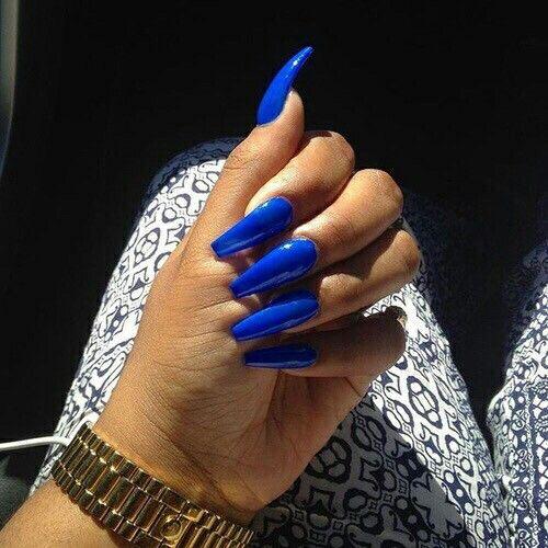 long cobalt blue coffin nails | C L A W S | Pinterest ...