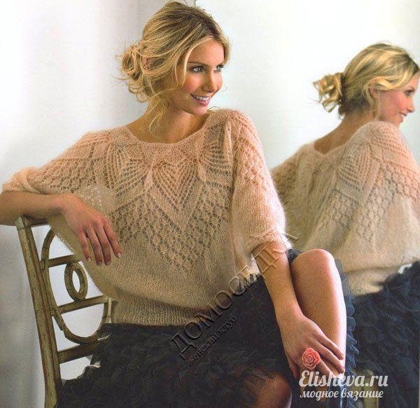 Ажурная блуза из мохера вязаная спицами