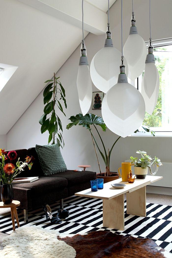 Cool Wohntrends Wohnideen Wohnzimmer Pendelleuchten Schwarz Weißer  Streifenteppich Pflanzen Check More At Http://