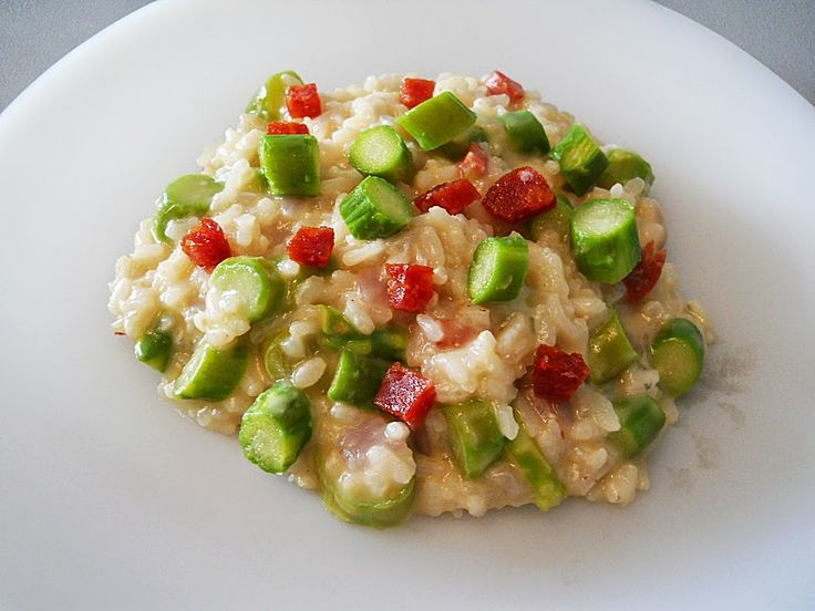 spicy salame, asparagus, gorgonzola risotto