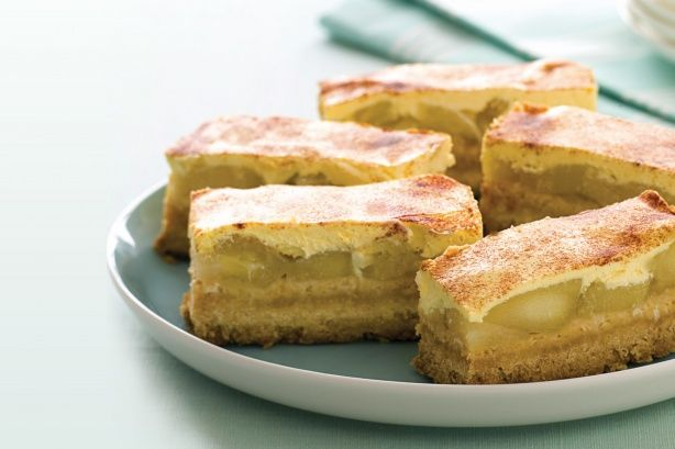 Apple & cinnamon slice.Use a clever shortcut to create these baked golden slices filled with warm apple, sour cream and cinnamon.