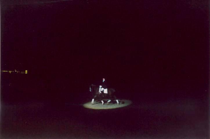 Sportmerrie, Z-dressuur met Sarah Dekker, Jilady (Eusebio x Nilady v. Irak) onder Anne van IJzendoorn tijdens een Ladyhoeve-show in de spotlights. Het tweetal reed op muziek van Vangelis: Chariots of fire.
