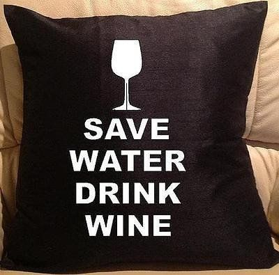 Save Water pillow cover washable Polyester and Square FILLING NOT INCLUDED