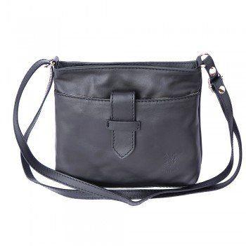 - Crossbody tas van zacht kalfsleder zwarte kleur