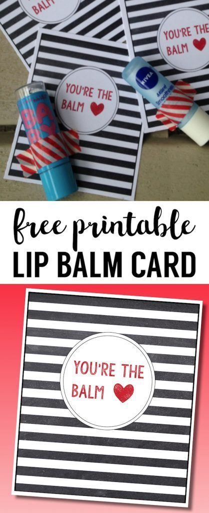 Chapstick Card Free Printable. Lip balm printable card for teacher gift, valentine's day card DIY, or appreciation gift. #papertraildesign #valentineprintable #valentinecard #teachergift