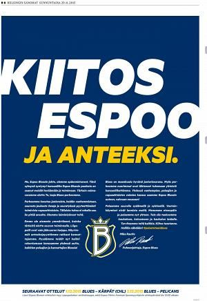 Espoo Bluesin ilmoitus Helsingin Sanomissa 29. marraskuuta 2015.