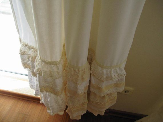 Recycled Upcycled Jeans Throwback Lace Scraps Curtain