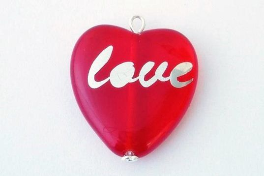 "Lovely pendant heart with sign ""LOVE"", size 24x22mm, color rubin, 1pcs in package."