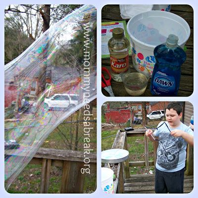 HOMEMADE GIANT BUBBLES & BUBBLE SNAKES!! 3 cups water 1 cup dish washing liquid (you can also use Baby Shampoo!) 1/3 cup light corn syrup Mix all together in a large Bowl  (from Mommy Needs A Break)