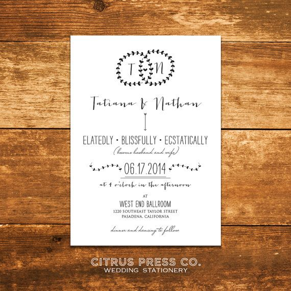Rustic Wreath Wedding Invitation - Monogram letters, Hipster, Garland, Shabby Chic, Rustic, Boho on Etsy, $3.95