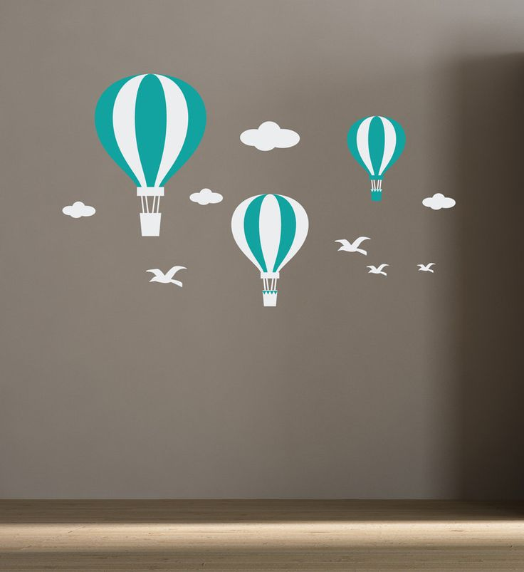 Wall Decals Hot Air Balloons for kids room, baby room decor stickers, Nursery Decals. $53.00, via Etsy.