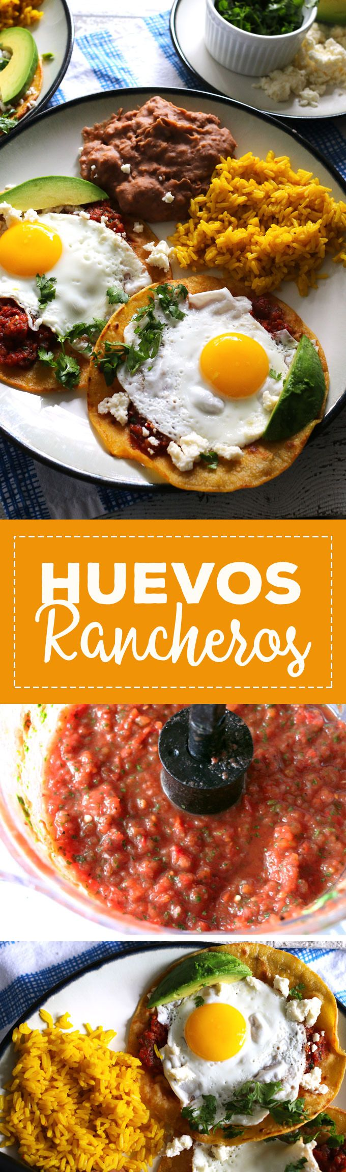 This huevos rancheros recipe is a delicious way to start your day! Made with homemade salsa and fresh eggs, it is hearty, easy to make, vegetarian, and perfect for weekend brunch or large family gatherings. Serve with a side of refried beans and rice! | h