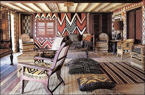Amazing patterns and textiles… layered in Kuba  mud cloth - African Interiors