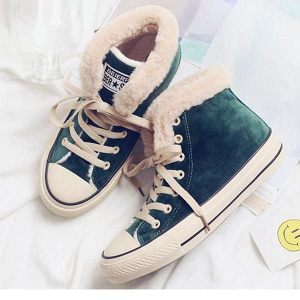 Womens Flat Canvas Snow Sneakers | Want! in 2019 | Snow