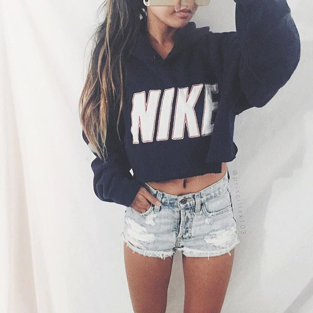cropped hoodie sweatshirt with jean shorts ripped jean shorts diy cut hoodie
