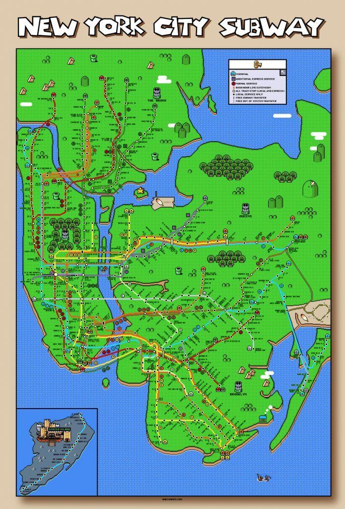 Updated Subway Map.Super Mario New York City Subway Map Updated Again Subway Maps