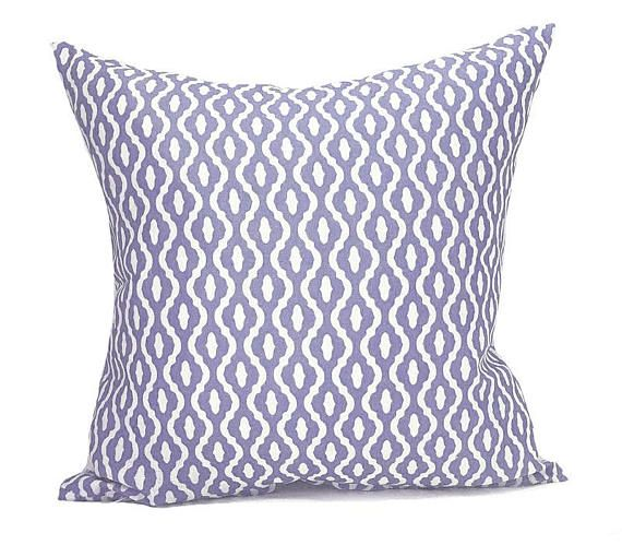 WHOA-BOHO =============  DAHLIA | SOFT PURPLE  • Linen pillow cover on a white linen background with a soft purple geometric print • Lovingly made by hand from our UK workroom, from UK fabric that is printed to order • Available in 18 x 18 (45cm) or 22 x 22 (55cm) - or request a custom listing for any size or qty! • Cover ONLY - Zipped and professionally sewn • Linen • Complete the look with a Roman Blind, Curtains or Fabric per...