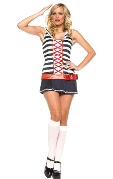Adult 2 Piece Sexy Striped Sailor Costume