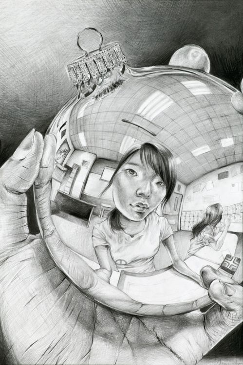 Escher inspired reflection self-portraits - Turn this into a comp 1 project with this question: What background and round object will your students choose to represent themselves?