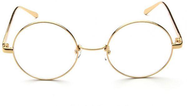 اطار دائري مصنع من معدن لون ذهبي Glasses Lens Color