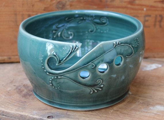 Hey, I found this really awesome Etsy listing at https://www.etsy.com/listing/197389742/yarn-bowl-crochet-knitting-deep-green