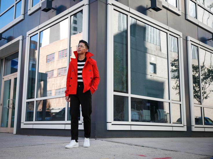 SHOP THE LOOK Armani ExchangeJacket // Armani ExchangeSweater // Armani ExchangeTrousers // Common ProjectsSneakers