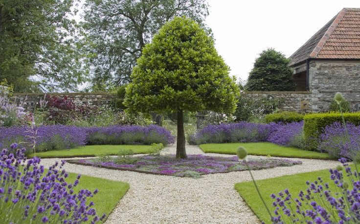 """Arne Maynard: """"We re-established the main route into the house, forming an outer court by planting ancient espalier pears and commissioning a bespoke oak gate, inspired by wooden spindles from within the house, as the main entrance through the walls. The front court itself is now filled with fragrant lavender, violas, geraniums, and mature yew topiaries, and is surrounded by orchards, wildflower meadows and a kitchen garden of raised beds and architectural oak fruit cages."""""""