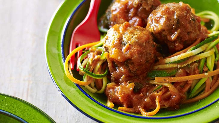 Zucchini and carrot 'spaghetti' and meatballs. This gluten-free alternative serves 4.