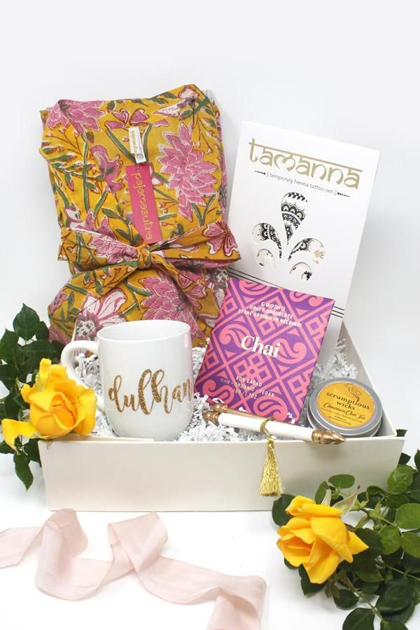the perfect bridal shower gift for brides ordering six or more bridesmaid boxes your dulhan gift box is our gift to you includes a pajamasutra robe of