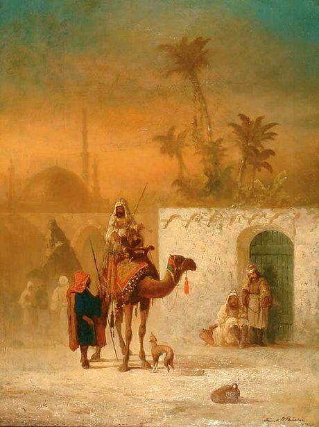 Art painting byFranklin Dullin Briscoe 1844-1903  Arab Caravan In A Courtyard