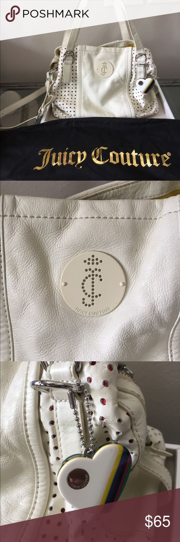 🎉SALE🎉 Juicy Couture handbag Fun perforated cream supple leather handbag no rips or tears in leather or interior linings. Only minor marks- good wiping would improve- see pics or just ask for more details 😊 Comes w dust bag and detachable cross-body strap. Smoke free home. 12Lx6Wx10H(height) Juicy Couture Bags Totes