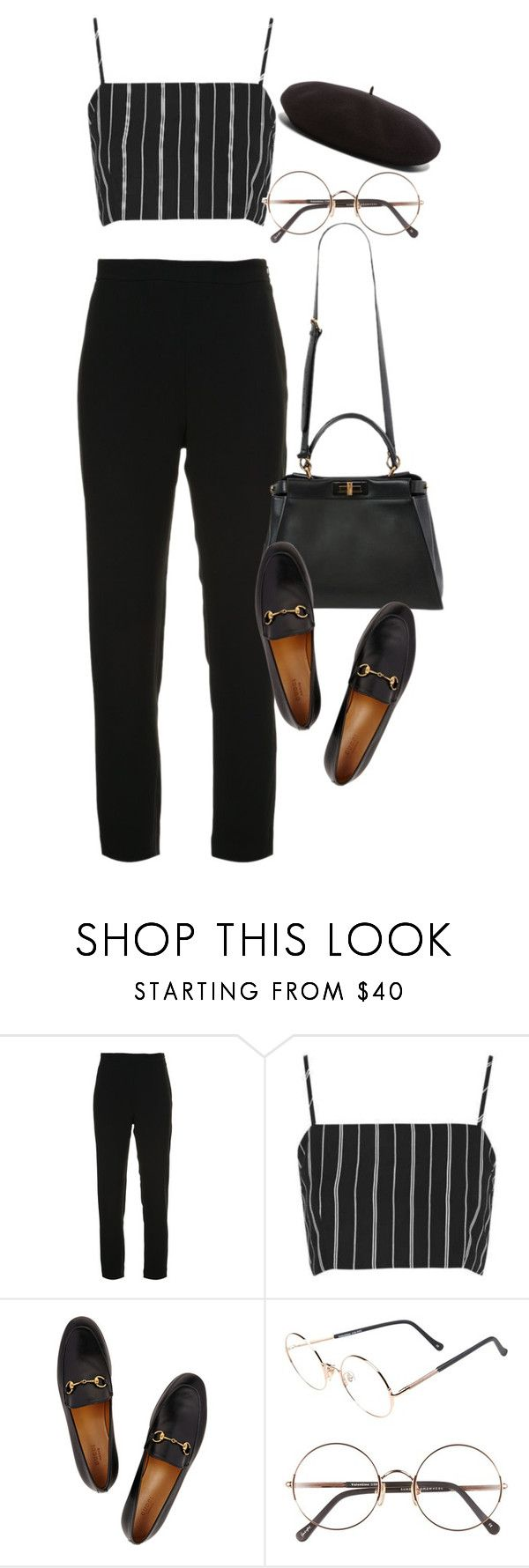 """""""Sem título #1441"""" by oh-its-anna ❤ liked on Polyvore featuring Brandon Maxwell, Topshop, Fendi, Gucci, Sunday Somewhere and Yves Saint Laurent"""