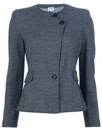 ARMANI COLLEZIONI Fitted Blazer is a grey wool blend jacket featuring a round neck, a double top button fastening, a single button fastening at the fitted waist, two flap pockets, and long sleeves.