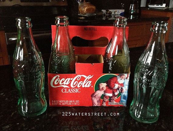 Vintage Green Embossed #Coca Cola Bottle Set