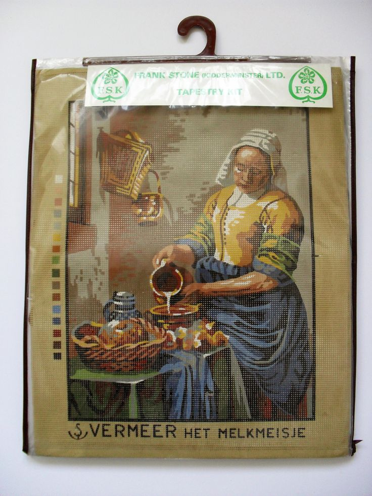 Vintage TAPESTRY KIT The Milkmaid 'Het Melkmeisje' after Vermeer Old Masters Large Printed Tapestry Kit Complete with Wools & Instructions by BigGirlSmallWorld on Etsy